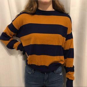 Navy blue and brown long sleeve crop top
